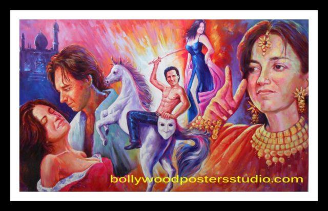Custom banner hand painted Bollywood mashup poster online