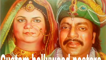 Custom online Bollywood poster or hand painted portrait – The fusion of photo and Bollywood poster on canvas