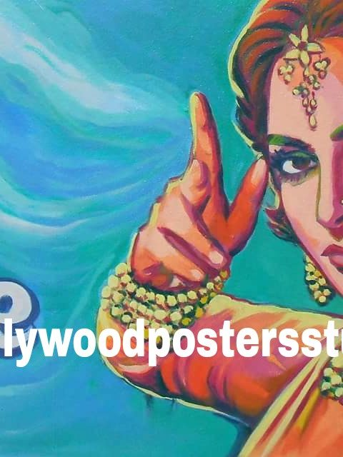 Hand painted classic Indian movie poster art on oil canvas