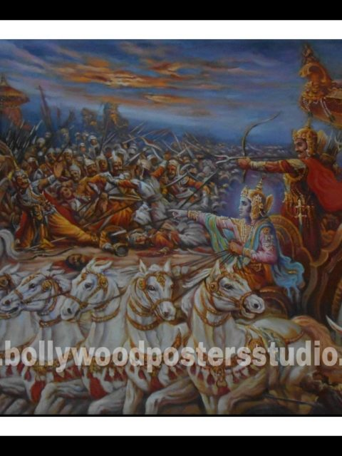 Hand painted Indian modern art reproduction on oil canvas for sale at Mumbai
