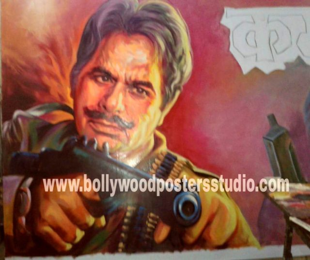 Hand painting Bollywood posters knife art on canvas