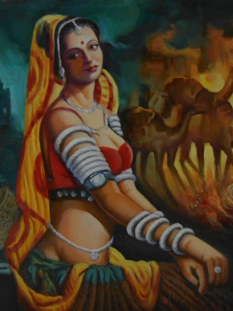 Hand painted oil paintings on canvas of Indian reproduction for sale Mumbai India