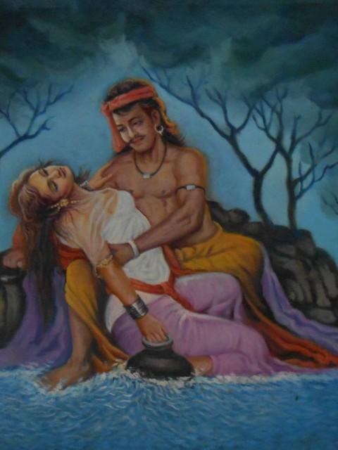 Home decor canvas paintings of sohni and mahiwal – Reproduction