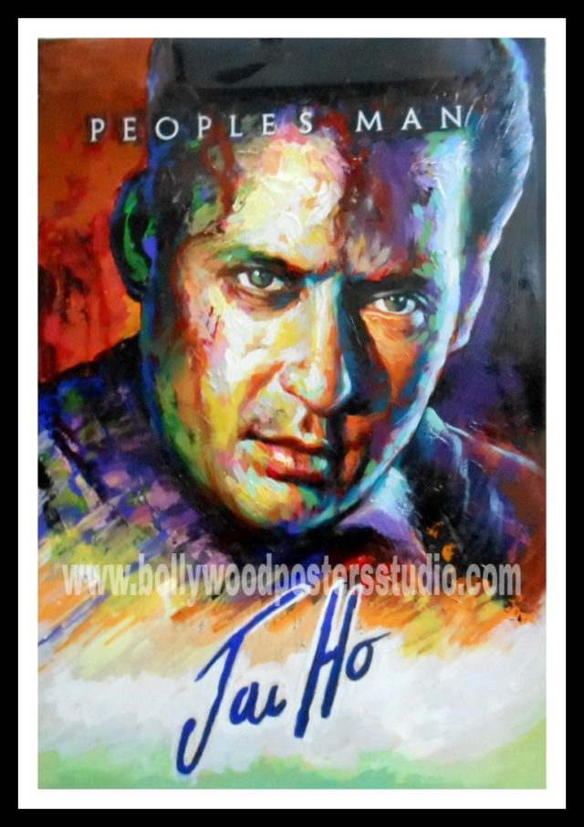 Hand painted film fan knife art creative bollywood posters
