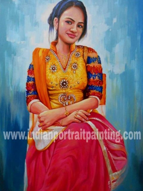 Custom oil portrait hand painted