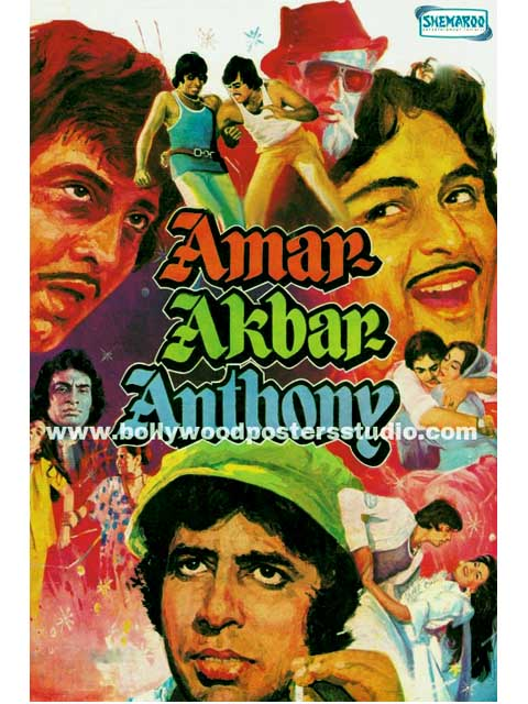 Hand painted bollywood movie posters Amar akbar anthony - Amitabh bachchan