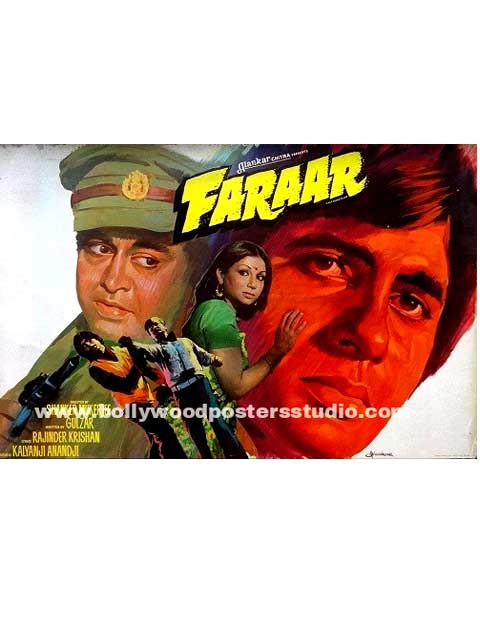 Hand painted bollywood movie posters Faraar - Amitabh bachchan