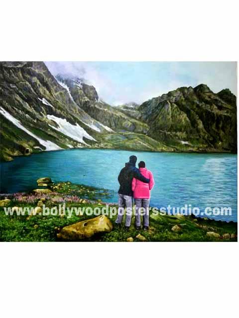 Landscape oil canvas portrait paintings Indian