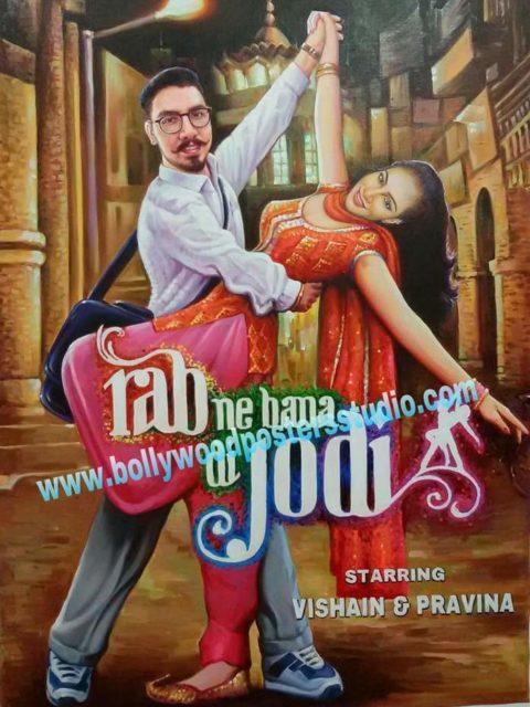 Custom Bollywood poster and digital copy for wedding invitation cards