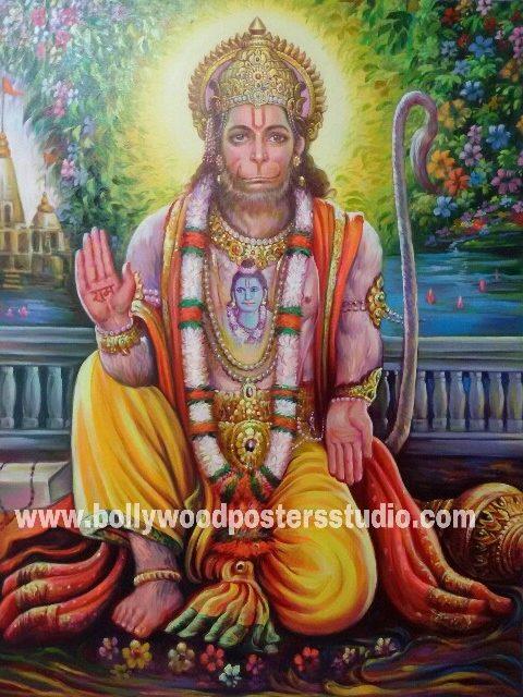 Portrait on oil canvas hand painted artist – Mahabali Hanuman