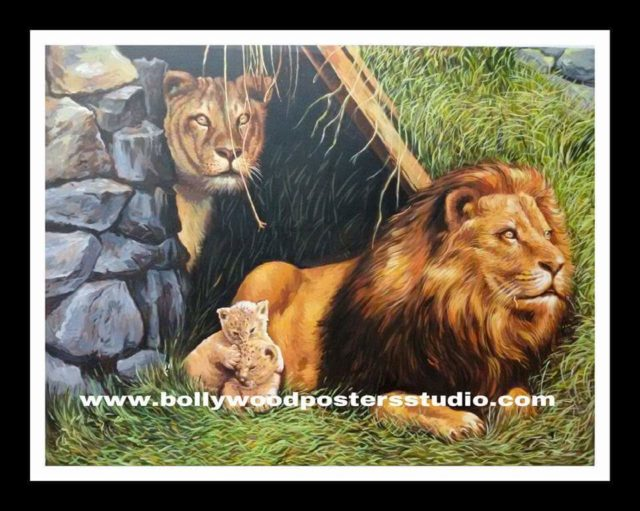 Oil canvas painting art - 'save wild life' - hand painted animals