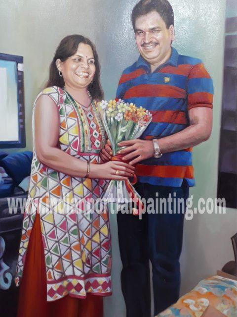 Portrait paintings on canvas for parents
