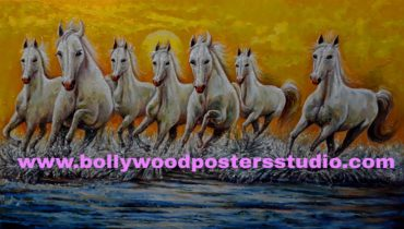 Seven white horse with rising sun original painting on canvas