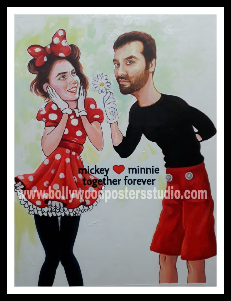 Creative cartoon style gift hand painted on canvas