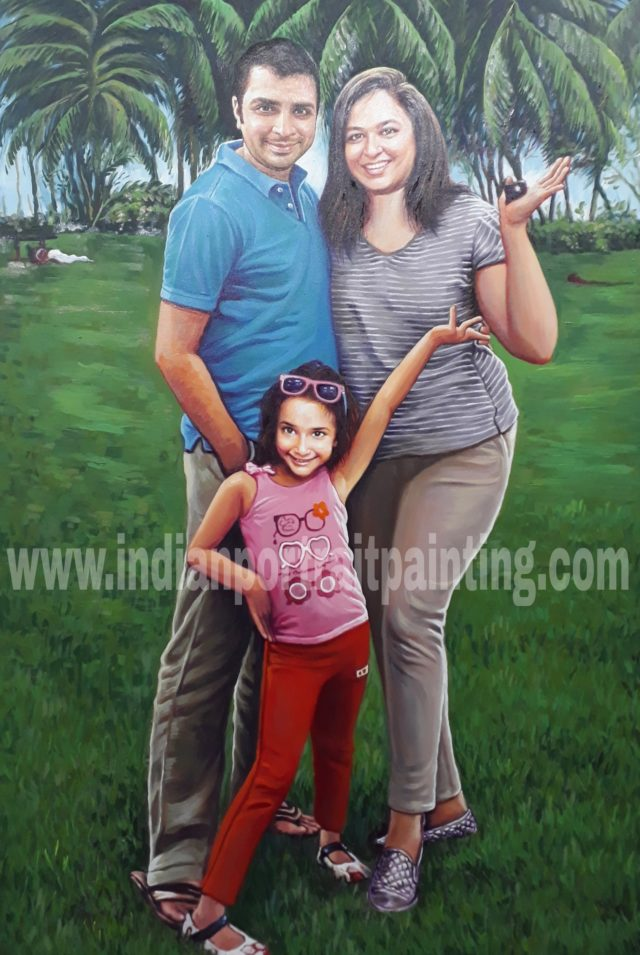Family portrait on oil canvas from photo