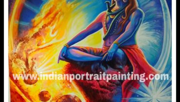 Hand painted neon paint lord shiva