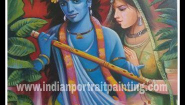 Oil canvas Radha kishan painting for sale