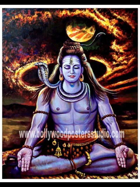 Original oil painting at best price sale – Mahadev shiva