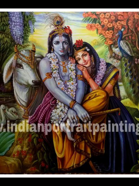 Radha Kishan in vrindhavan oil paintings – original hand painted