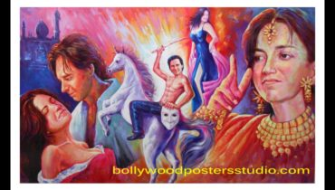 Custom banner hand painted Bollywood mashup poster online