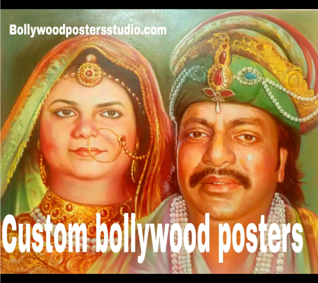 Custom online Bollywood poster or hand painted portrait - The fusion of photo and Bollywood poster on canvas