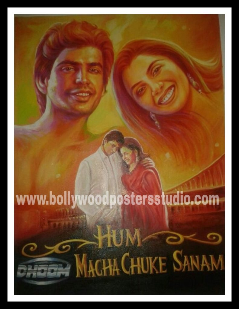 Customized Bollywood movie posters hand painted