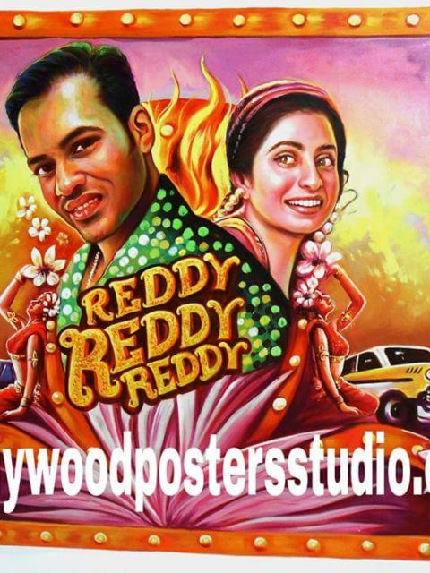 Hand drawn Bollywood posters on oil canvas
