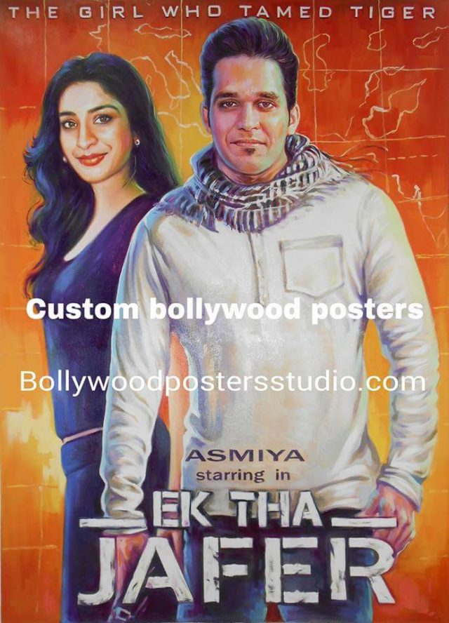 Hand painted Bollywood custom wedding posters for couple
