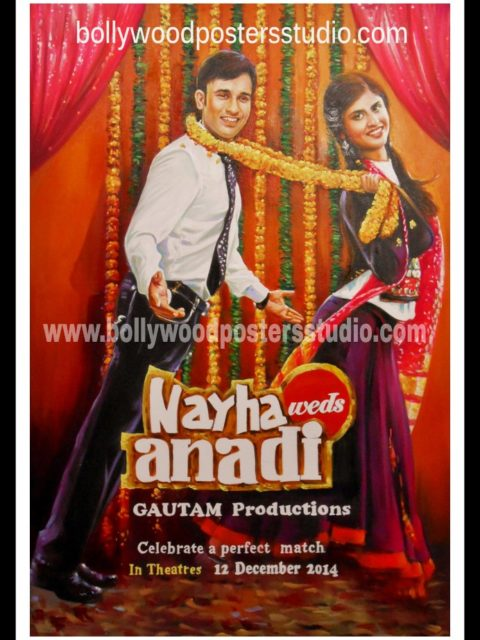 Personalized customized save the date Bollywood poster hand painted
