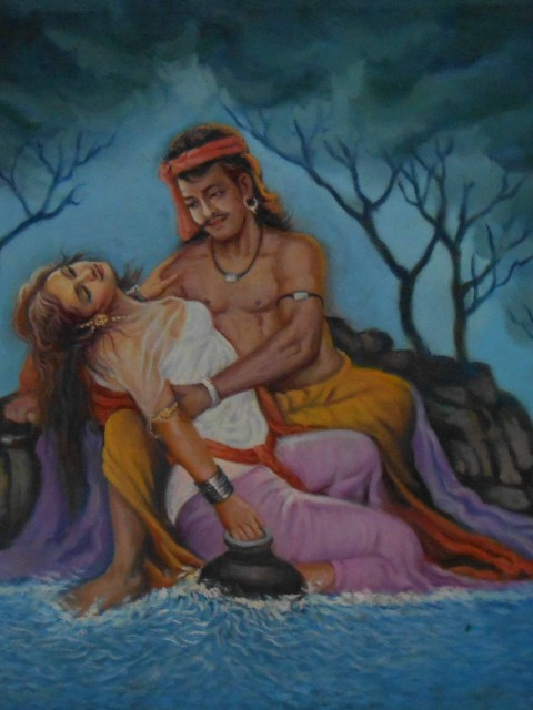 Home decor canvas paintings of sohni and mahiwal – Reproduction