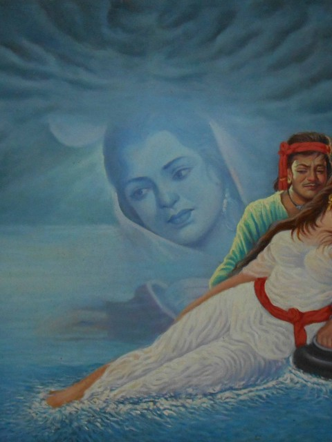 Hand painted sohni and mahiwal canvas painting for wall art – Reproduction
