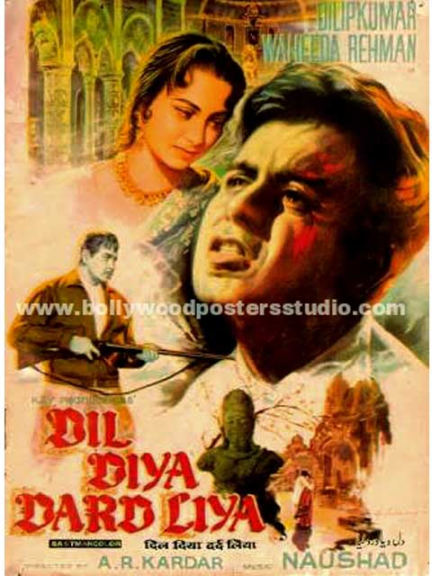 Dil diya dard liya hand painted bollywood movie poster