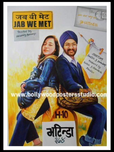 Customized bollywood poster for wedding cards themed