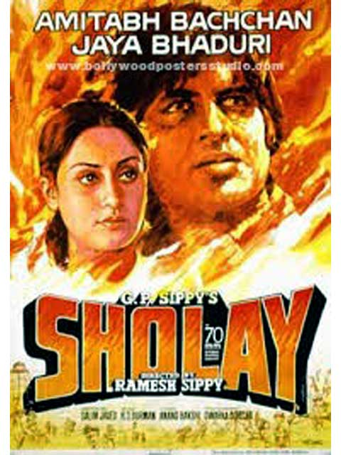 Bollywood movie posters hand painted Sholay - Amitabh bachchan