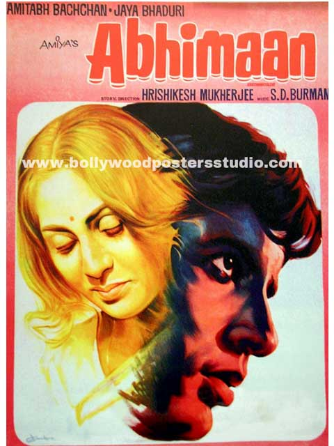 Hand painted bollywood movie posters Abhimaan – Amitabh bachchan