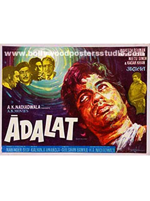 Hand painted bollywood movie posters Adalat – Amitabh bachchan