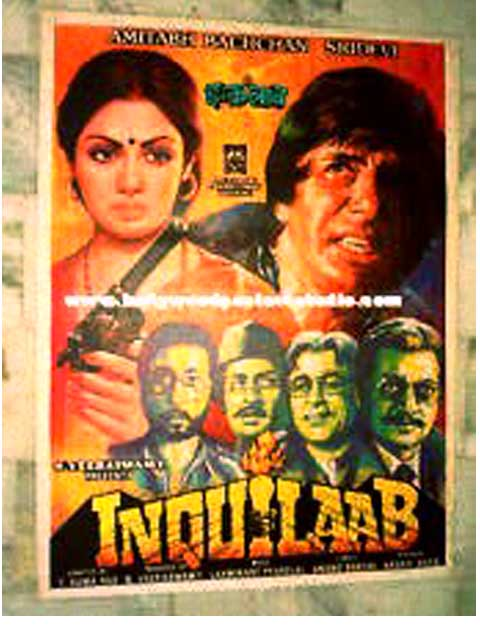 Hand painted bollywood movie posters Inquilaab – Amitabh bachchan