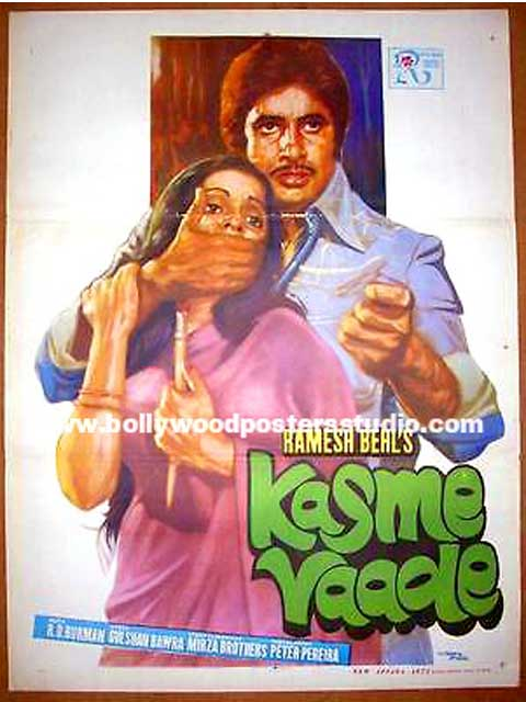 Hand painted bollywood movie posters Kasme vaade – Amitabh bachchan