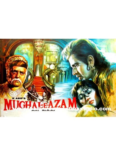 Hand painted bollywood movie posters Mughal- e- azam