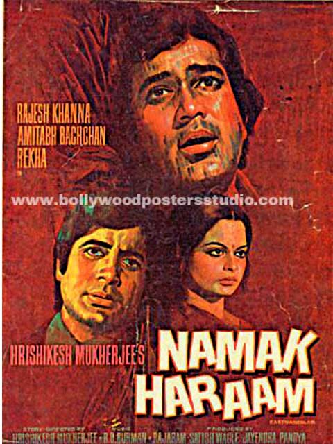 Hand painted bollywood movie posters Namak haraam – Amitabh bachchan