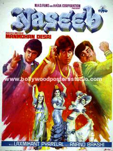 Hand painted bollywood movie posters Naseeb - Amitabh bachchan