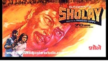 Hand painted bollywood movie posters Sholay – Amitabh bachchan