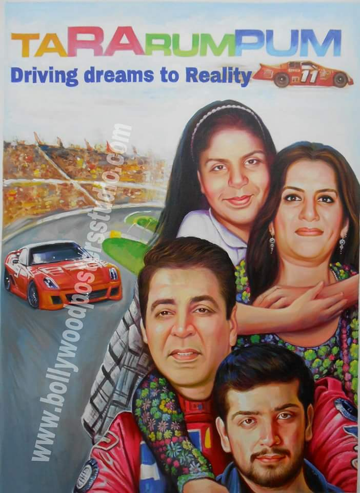 Bollywood movie posters for family recreated