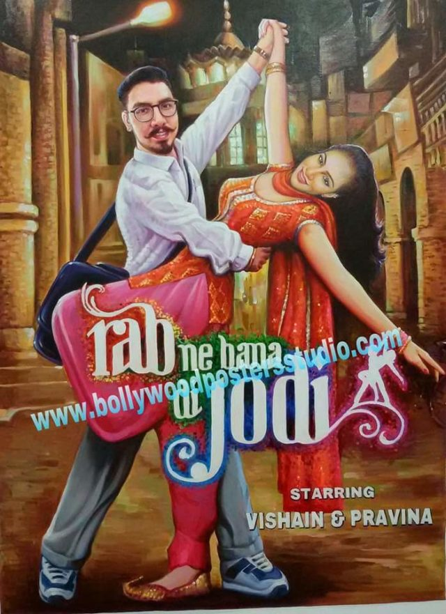 Custom Bollywood poster and digital copy for wedding invitation cards