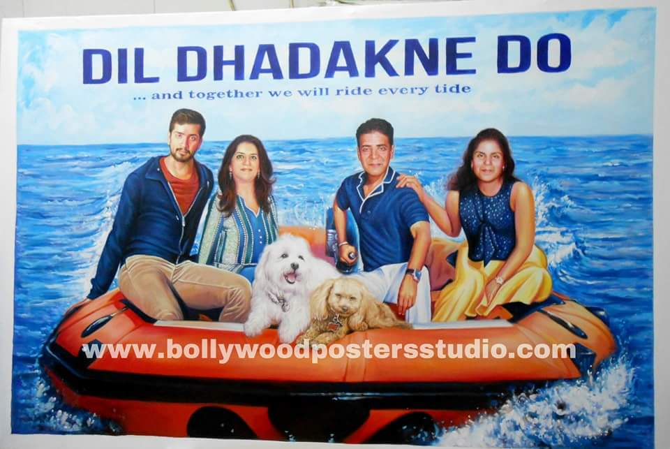 Custom Bollywood family posters and portraits hand painted