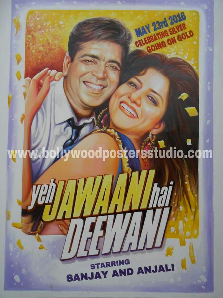 Silver jubilee wedding anniversary gift idea on bollywood theme