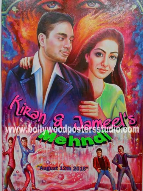 Customise mehandi / sangeet invitation cards and bollywood movie poster