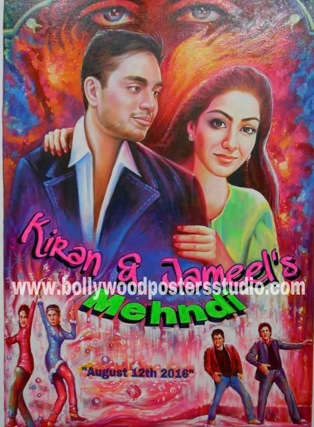 customise mehandi and sangeet invitation cards and bollywood movie posters