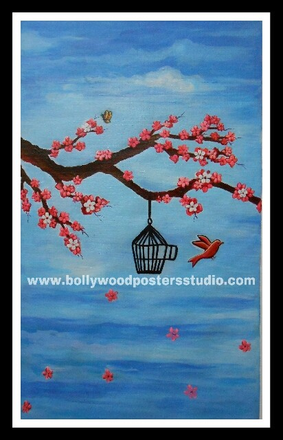 Canvas painting set the bird free- reprouction