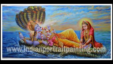 100% original canvas paintings and finest artist – Lord vishnu and laxmi ji hand painted